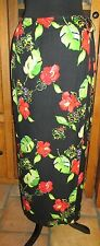 ISLAND REPUBLIC HAWAIIAN SILK FLORAL HIBISCUS BLACK RED GREEN WRAP SKIRT ~ 8