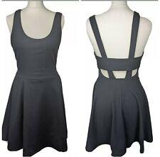 Pull&Bear Black Mini Skater Dress Sleeveless Fit Flare Backless Boho Punk Large