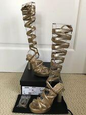NIB Chanel Parthenon Column Gold Lace Up Wrap RUNWAY Platform Sandals Pumps 36.5