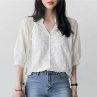 Embroidery Blouse White Shirt Women Elegant Casual 3/4 Sleeve V-Neck Floral Tops