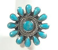 925 STERLING SILVER BRAIDED FLOWER WITH PETALS DESIGN TURQUOISE SIZE 10 RING