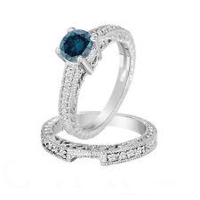 Enhanced Blue Diamond Engagement Ring & Wedding Band Sets 14K White Gold 1.26Ct