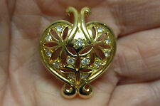 "21KT YG AND .25CTTWT DIAMONDS OPEN WORK HEART SMALL  PENDANT 1""  6.4g I-1675"