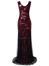 Vintage 1920s Long Wedding Prom Dresses Sequin Party Evening Wedding Gown S-XXL