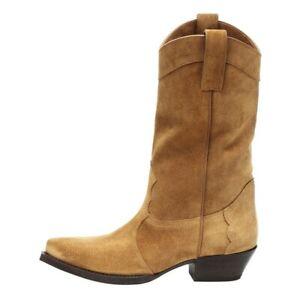 44/48 Women Western Block Heel Biker Cowboy Round Toe Mid Calf Boots Outdoor L