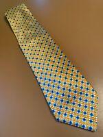 "Euc Ermenegildo Zegna Geometric Gold Blue Silk Tie Necktie Italy 58"" 3.5"""