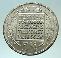 1966 SWEDEN King GUSTAV VI ADOLF 5 Kronor LARGE Silver SWEDISH Coin  i75880