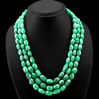 FINEST QUALITY 755.00 CTS EARTH MINED 3 LINE GREEN EMERALD OVAL BEADS NECKLACE