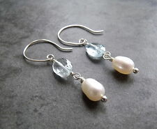 SKY BLUE TOPAZ AND WHITE PEARL DANGLE DROP  STERLING SILVER EARRINGS
