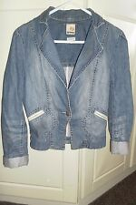 Duck and Cover DAC Denim Short Washed Distressed Denim Jacket Size Small UK 8 10