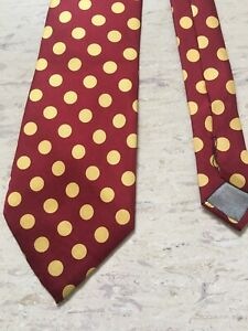 """Mens red/yellow polka dot 100% silk made in Italy tie 3.75"""" wide 55"""" long"""