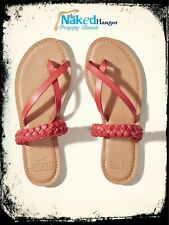 Hollister Sandals Braided Coral Slides Women's Size 8 NWT Faux Leather