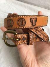"""Vintage Embossed Tooled Brown Leather Western Name Belt """"DOT"""" Rockabilly"""
