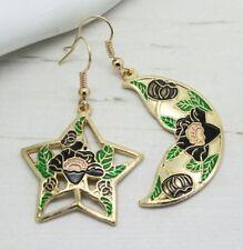 Vintage Cloisonne Esmalte Estrellas y la Luna Decorativo Black Rose Earrings Joyas