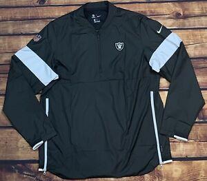 Team Issued Nike On Field Las Vagas Raiders NFL 1/4 Zip Windbreaker Jacket L