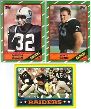 12 1986 TOPPS FOOTBALL LOS ANGELES RAIDERS CARDS (ALLEN/LONG+++)