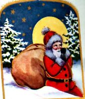 Whitney Christmas~SANTA w BAG~FULL MOON~GOLD STARS~SNOWY TREES~Art Deco Postcard