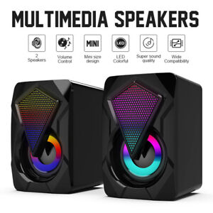 Surround Sound System LED PC Speakers Gaming Bass USB Wired for Desktop Computer