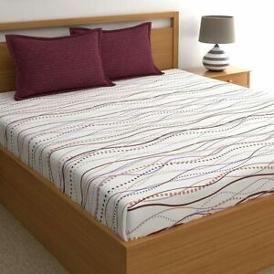 """Maroon Abstract Cotton 88x98"""" Double Bedsheet With 17x27"""" 2 Pillow Covers,140 Tc"""