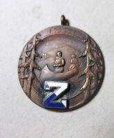 antique 1921 hand enameled bronze canoeing manliness medal award sport charm