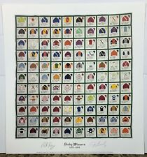 1875-1984 Kentucky Derby Winners Quilt Print Signed by Jerry Bailey Pat Day