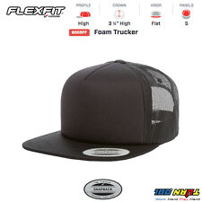 FLEXFIT FORM TRUCKER MESH CAP BLANK FLAT BILL with White Front Snapback 6005FF