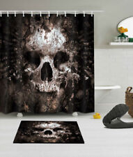 Waterproof Fabric Rotten Skull Shower Curtain Liner Bathroom 12 Hooks Mat Set