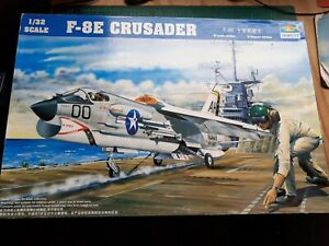TRUMPETER F-8E Crusader + QB resin seat, 1/32, complete, vgc, UK SALE ONLY