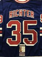 Autographed/Signed MIKE RICHTER New York Blue Hockey Jersey JSA COA Auto