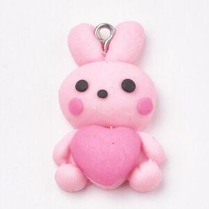 Handmade Polymer pink Bunny rabbits charms pendants pack of 8