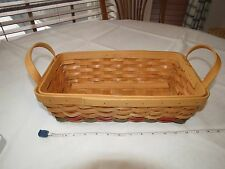 Country Woven Collection GRAND basket Maspeth NY brown red green bread handles