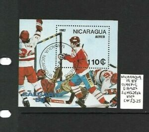 Nicaragua 1987 Winter Olympic Games min sheet used