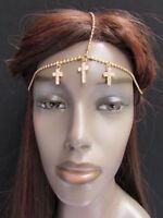 Women Head Metal Crosses Chain Gold Jewelry Grecian Hair Wedding Bridal Style