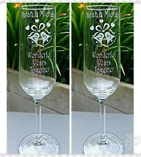 Pair of Anniversary  Engraved Champagne Flutes - Silver, Golden, Ruby - New