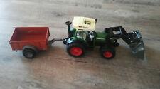 Miniature BRUDER Tracteur Fendt 209S + remorque + chargeuse à godet  TBE