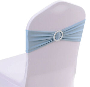 50 Spandex Chair Sashes Elastic Bows Band Wedding Party Decoration - FREE S&H