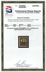 """US Sc# 311 *MINT RG H* { $1 FARRAGUT WITH """"PSE CERT"""" } """"SCARCE PERF 12 FROM 1903"""