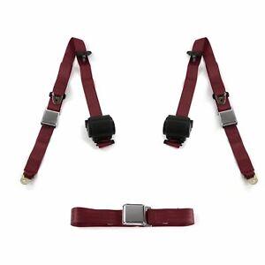 AMC 1958 - 1988  Airplane 3pt Burgandy Retractable Bench Seat Belt Kit - 3 Belts
