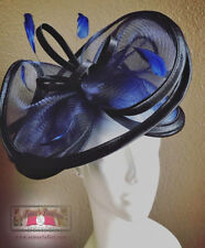 ROYAL ASCOT Kentucky DERBY Fascinator Hat Black Dark Blue Navy Church Easter