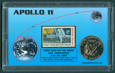 APOLLO 11 Pres. Eisenhower Dollar Americana Series 1ST MOON LANDING Stamp & Coin