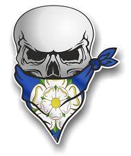 Cráneo con la cara Bandana & Yorkshire Rosa York County Bandera Pegatina de vinilo coche