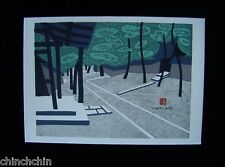 SMALL KIYOSHI SAITO Zen Temple CHOP SIGNED Mixed Media WOODBLOCK DAITOKU JI