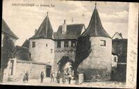 Alte AK PK Postkarte gelaufen '25 Foto SW Prichsenstadt Inneres Tor Personen