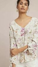 Anthropologie Maeve Pernille Floral Blouse Womens L Pink White Long Sleeve Ties