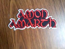 AMON AMARTH,IRON ON RED  WITH WHITE EDGE EMBROIDERED PATCH