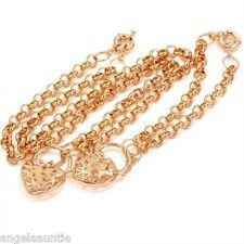 18K Gold Filled Filigree Heart Padlock Necklace/Bracelet Set (S-160)