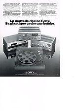 PUBLICITE  1975   SONY    chaine hi-fi tuner platine PS4750
