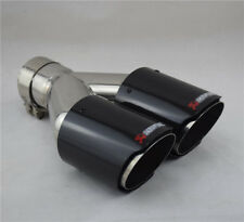 Glossy Real Carbon Fiber+Stainless Steel 63mm Inlet Car Exhaust Pipe Dual Outlet