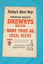 """Vintage 1957 Drewrys Beer Advertisement - 21"""" x 13.25"""""""