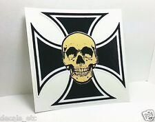 Skull & Iron Cross Vintage Style DECAL, Vinyl STICKER, racing, hot rod, rat rod